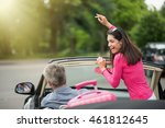 a cheerful couple going on a... | Shutterstock . vector #461812645