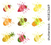 fruits cut in the air splashing ... | Shutterstock .eps vector #461812669
