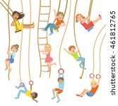 kids on swings and other rope... | Shutterstock .eps vector #461812765