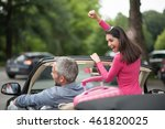 a cheerful couple going on a... | Shutterstock . vector #461820025