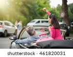 a cheerful couple going on a... | Shutterstock . vector #461820031