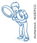 cute little boy with school bag ... | Shutterstock .eps vector #461829121