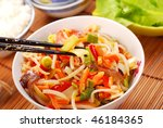 chinese food with various vegetables and rice - stock photo