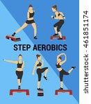 fitness vector set. silhouette... | Shutterstock .eps vector #461851174