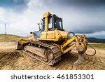 Yellow Bulldozer On Tracks At...