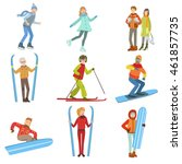 people and winter sports... | Shutterstock .eps vector #461857735