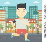 an asian man running with... | Shutterstock .eps vector #461883301