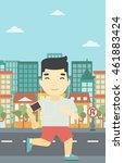 an asian man running with... | Shutterstock .eps vector #461883424