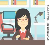 an asian young woman making a... | Shutterstock .eps vector #461884441