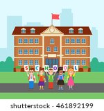 back to school children pupils... | Shutterstock .eps vector #461892199