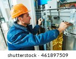 technician worker adjusting... | Shutterstock . vector #461897509