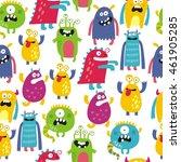 cute monster print | Shutterstock .eps vector #461905285