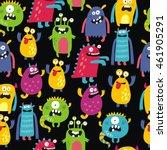 cute monster print | Shutterstock .eps vector #461905291