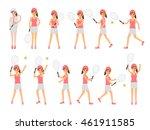 female tennis sport athletes ... | Shutterstock .eps vector #461911585