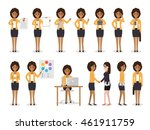 set of black working people on... | Shutterstock .eps vector #461911759