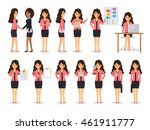 set of working people on white... | Shutterstock .eps vector #461911777