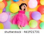 asian little chinese girl lying ... | Shutterstock . vector #461921731