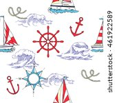 nautical seamless pattern with... | Shutterstock .eps vector #461922589