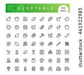 set of 56 vegetable line icons... | Shutterstock .eps vector #461922985
