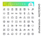 set of 56 vacation line icons... | Shutterstock .eps vector #461923045