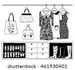 set of wardrobe basics  dresses ... | Shutterstock .eps vector #461930401