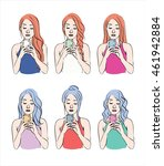 set of girls with different...   Shutterstock .eps vector #461942884