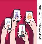 girls shopping online together. ...   Shutterstock .eps vector #461942887