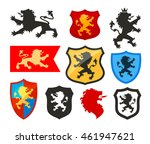 shield with lion  heraldry... | Shutterstock .eps vector #461947621
