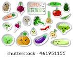vegetables with smiles vector... | Shutterstock .eps vector #461951155