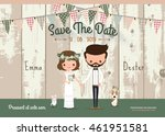 couple rustic wedding... | Shutterstock .eps vector #461951581