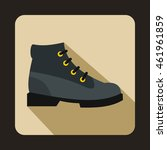 Gray Boot Icon In Flat Style O...