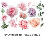 watercolor set with different... | Shutterstock . vector #461964871