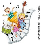 Children with Musical Instruments - Vector - stock vector