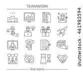 teamwork linear icons set with... | Shutterstock .eps vector #461983594
