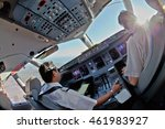 pilot at work. the sun peeks... | Shutterstock . vector #461983927