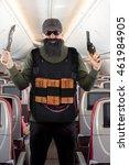 armed terrorist threatens the... | Shutterstock . vector #461984905