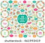 big floral hand drawn vintage... | Shutterstock .eps vector #461993419