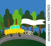 travel vector by yellow car... | Shutterstock .eps vector #462007825