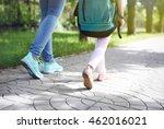 mother taking daughter to school | Shutterstock . vector #462016021