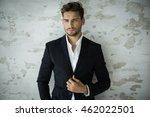 portrait of sexy man in black... | Shutterstock . vector #462022501