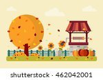 autumn landscape with water... | Shutterstock .eps vector #462042001
