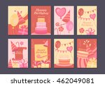 set of cards happy birthday.... | Shutterstock .eps vector #462049081