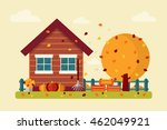 autumn landscape with wooden... | Shutterstock .eps vector #462049921