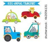 funny animals on transport.... | Shutterstock .eps vector #462056131