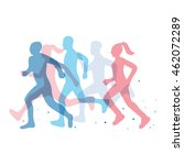 running marathon illustration | Shutterstock .eps vector #462072289