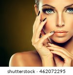 beautiful model girl with ... | Shutterstock . vector #462072295