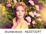 fashionable hair disheveled... | Shutterstock . vector #462073297