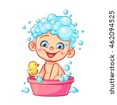 funny little baby with soap... | Shutterstock .eps vector #462094525