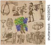 wine harvest set. vintage pack. ... | Shutterstock .eps vector #462100291