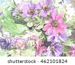 pink and purple flowers in vase ... | Shutterstock . vector #462101824
